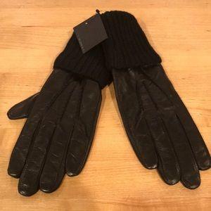 NWT Club Monaco Black Leather Lorena Gloves, M